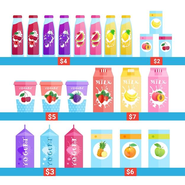 Свежие бутылки сока, молока и йогурта логотипы набор изолированных натуральных пищевых продуктов сельскохозяйственной продукции концепция Premium векторы