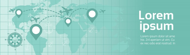 平面テンプレートによる世界旅行バナー飛行機ナビゲーションポインター付き地球地図上を飛行ルート計画 Premiumベクター