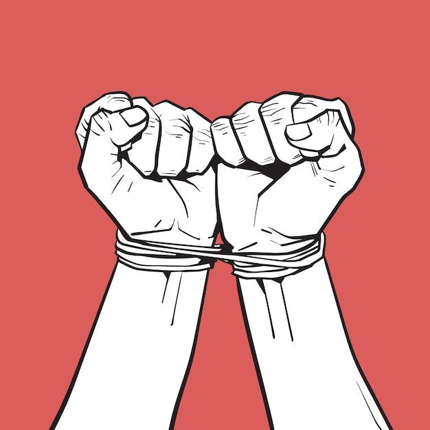 Руки связаны с веревкой, изолированный белый эскиз на красном Premium векторы