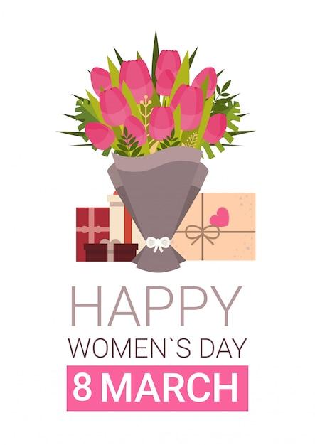 ギフト用の箱とチューリップの花束と幸せな女性の日グリーティングカード Premiumベクター