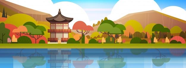 伝統的な韓国の風景宮殿や山の上の寺院韓国の建物有名なランドマークビュー水平 Premiumベクター