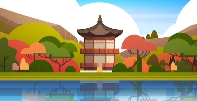 伝統的な韓国の風景宮殿や山々の上の寺院韓国の建物有名なランドマークビュー Premiumベクター