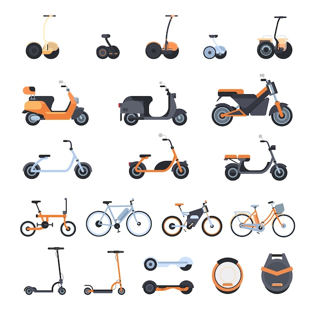 Большая коллекция современных эко транспортных элементов: электрические велосипеды, скутеры, моноколесо и гироскоп Premium векторы