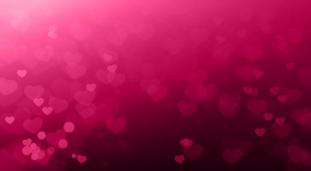 Творческий день святого валентина фон размытые сердца боке красивые элегантные Premium векторы