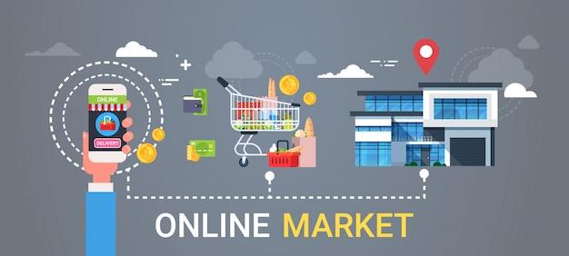 Интернет-магазин веб-баннер рука, держащая смартфон заказ продуктов покупки и концепция доставки еды Premium векторы