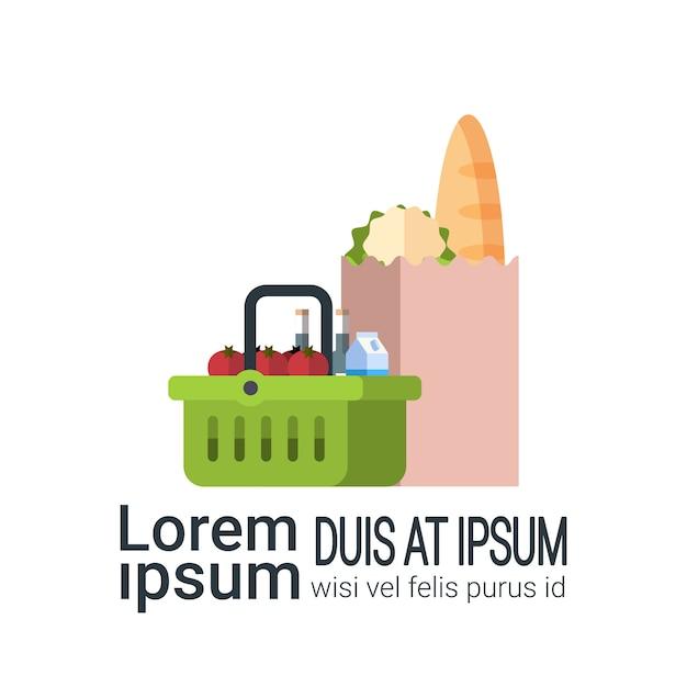 Бумажный пакет и продуктовые корзины Premium векторы