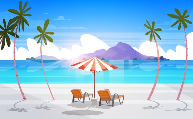 風光明媚なトロピカルビーチビュー夏の海辺の風景エキゾチックな楽園 Premiumベクター