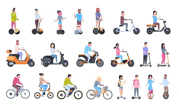 現代のエコ輸送に乗る若者:電気バイク、スクーター、モノホイール、ジャイロスクーター Premiumベクター