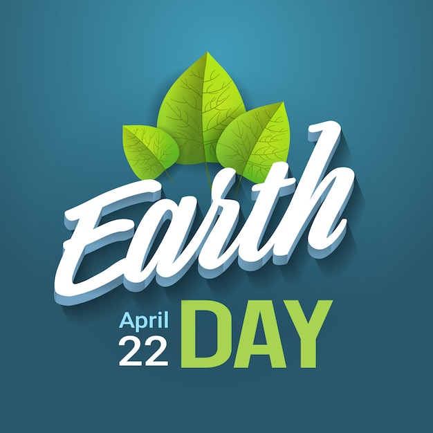青い背景にレタリング地球の日タイポグラフィハッピーホリデーグリーティングカードデザイン Premiumベクター