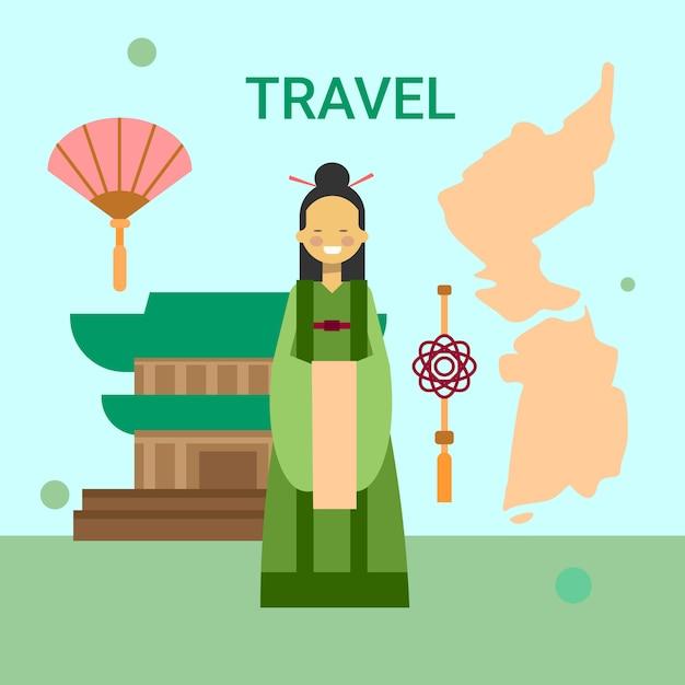 Женщина в национальном корейском платье над картой и храмом южной кореи Premium векторы