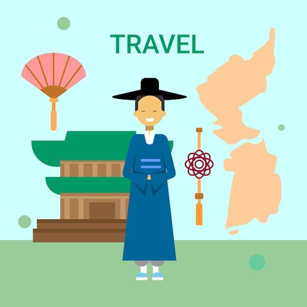 Человек в национальном корейском платье на карте южной кореи и в храме Premium векторы