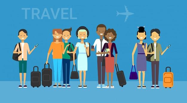 バッグ旅行と観光客のグループ Premiumベクター