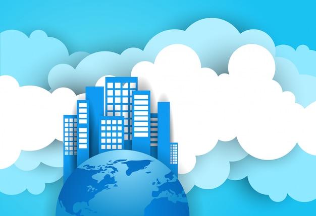 青い空と雲の背景の上の地球上の現代的な超高層ビル Premiumベクター