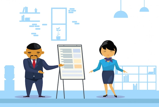 アジアビジネスの男性と女性持株プレゼンテーション Premiumベクター