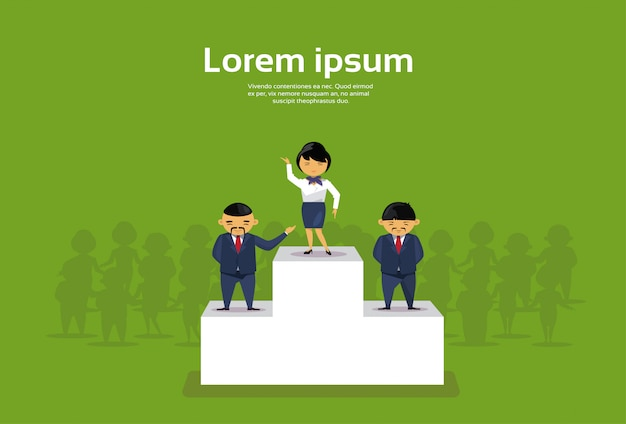 表彰台の上の最初の場所に立っている成功したビジネスウーマン Premiumベクター