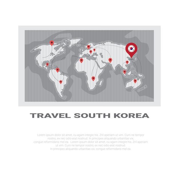 韓国への旅行ポスター世界地図 Premiumベクター