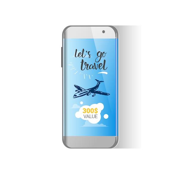 携帯電話の画面上の旅行会社のメッセージ Premiumベクター