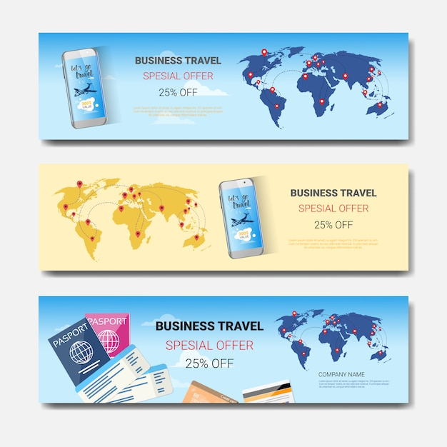 Деловые поездки специальное предложение набор шаблонов горизонтальных баннеров Premium векторы