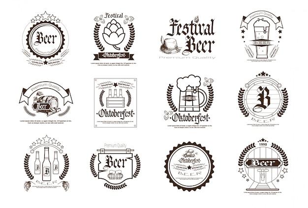 Октоберфест пивной фестиваль Premium векторы