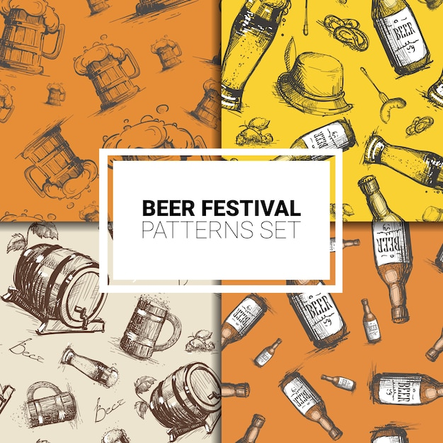 ビールのテーマのシームレスなパターンセット Premiumベクター