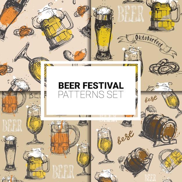 オクトーバーフェストのシームレスパターンセットドイツビール祭り Premiumベクター
