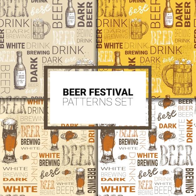 Октоберфест набор бесшовных шаблонов немецкий фестиваль пива Premium векторы