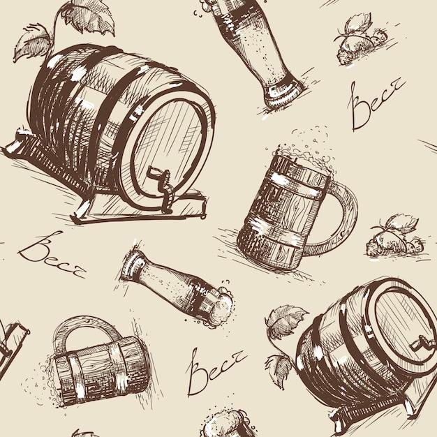 ビール樽シームレスパターンオクトーバーフェスト Premiumベクター