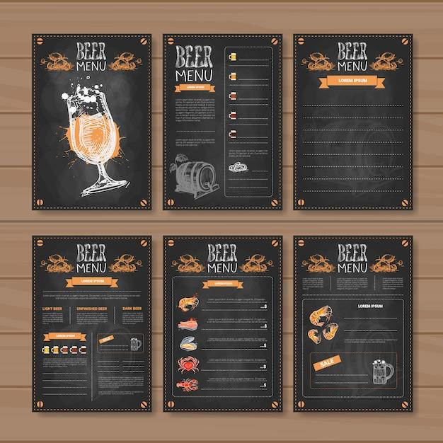 Пивной набор меню дизайн для ресторана кафе паб мелко Premium векторы