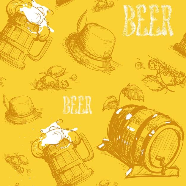 ビール樽シームレスパターンオクトーバーフェストフェスティバル Premiumベクター