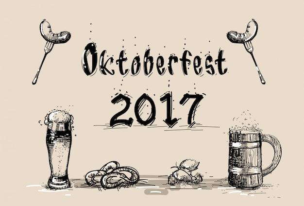 ソーセージスケッチオクトーバーフェストフェスティバルとビールのグラス Premiumベクター