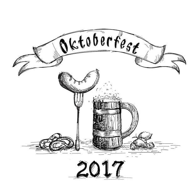 ソーセージスケッチオクトーバーフェストフェスティバルとビール木製マグカップ Premiumベクター