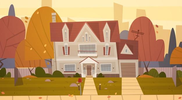Пригородный дом в пригороде большого города осенью, коттеджная недвижимость Premium векторы