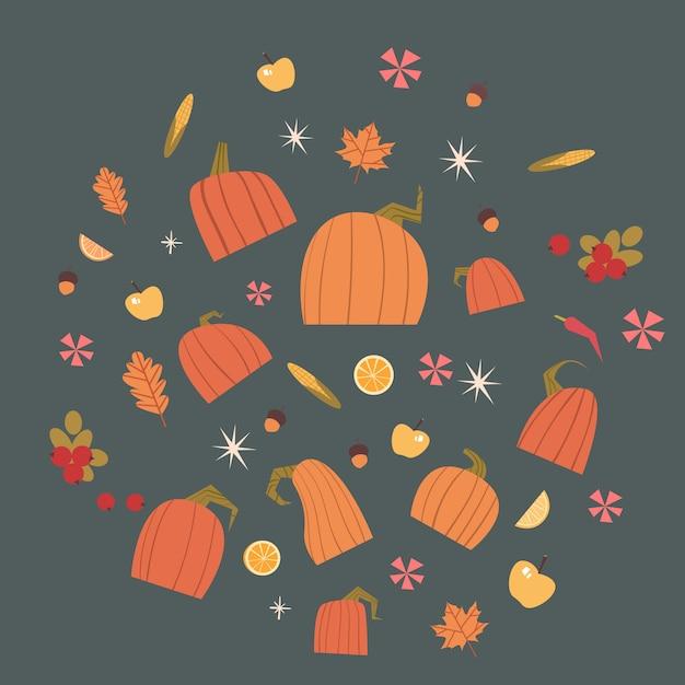 カボチャセット収穫秋のコンセプト野菜や果物のコレクション Premiumベクター