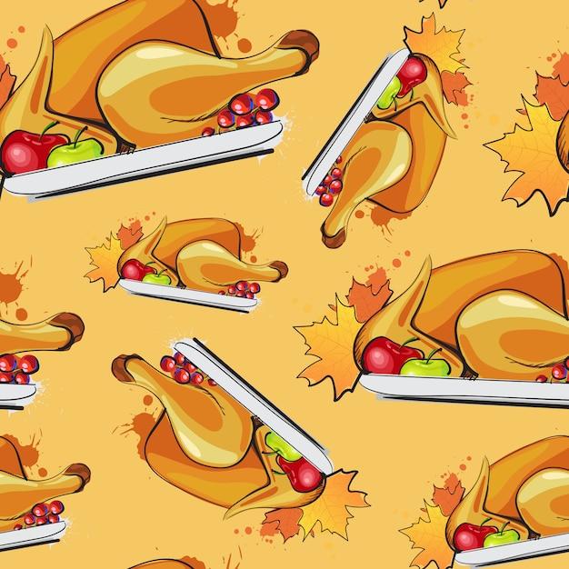 幸せな感謝祭のシームレスパターンローストターキーと秋の伝統的なグリーティングカード Premiumベクター