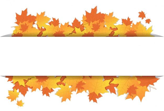 コピースペースで背景に紅葉フレームカラフルなメープル飾り秋のシーズン Premiumベクター