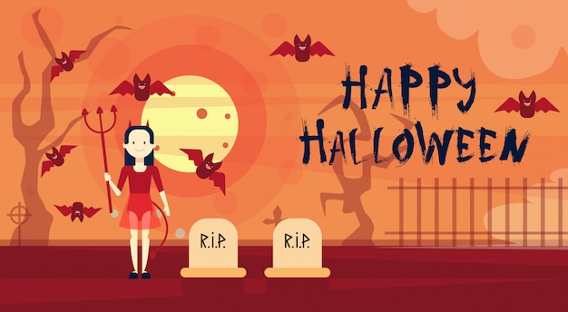 墓地の墓地の夜に幸せなハロウィーングリーティングカード吸血鬼 Premiumベクター