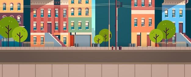 都市の建物の家ビュー夏通り緑の木々不動産フラット水平 Premiumベクター