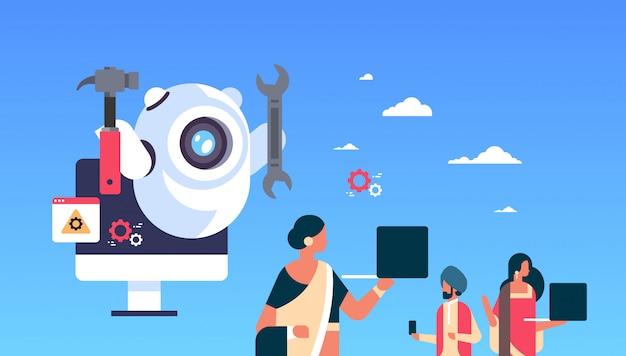 Поддержка робот робот гаечный ключ сервис ремонт концепция искусственный интеллект индийские люди, использующие гаджеты плоские горизонтальные Premium векторы