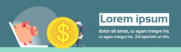 ビジネスマンローリングドルコインノートパソコン画面貯金箱オンラインお金の節約の概念 Premiumベクター