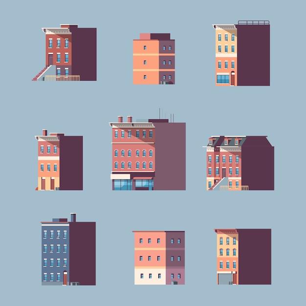 別の都市の建物の家都市の不動産を設定します Premiumベクター