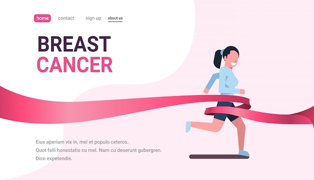 乳がんデーランニングスポーツ女性ピンクリボン意識予防バナー Premiumベクター