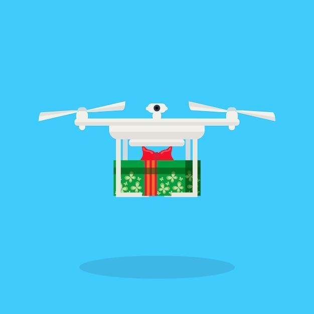 Дрон с доставкой подарок на новый год с рождеством Premium векторы