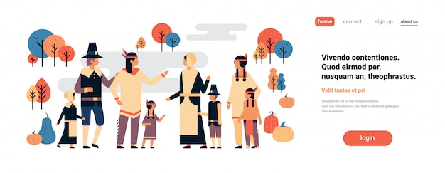 ネイティブアメリカンインディアンの人々の感謝祭の日を祝うバナー Premiumベクター
