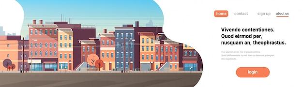 Город здание дома вид горизонт фон недвижимость милый город баннер Premium векторы