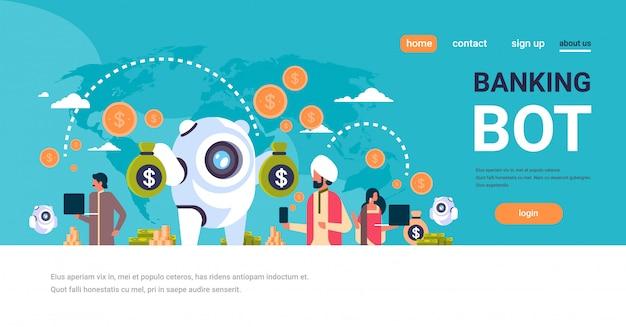 Электронные деньги банковские бот индийские люди, использующие электронный платеж баннер Premium векторы