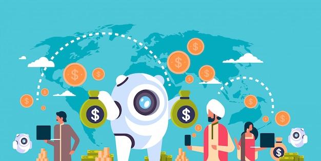 Электронные деньги банковские бот индийские люди, использующие баннер приложения электронной оплаты Premium векторы