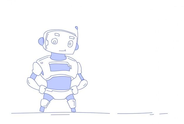 Современный робот милый бот помощник искусственный интеллект Premium векторы