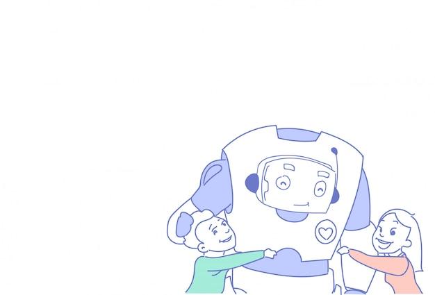 Дети играют современные роботы люди общение футуристические технологии искусственного интеллекта Premium векторы