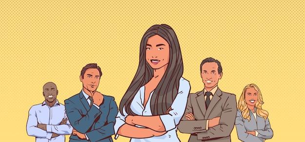 Деловая женщина с группой деловых людей Premium векторы