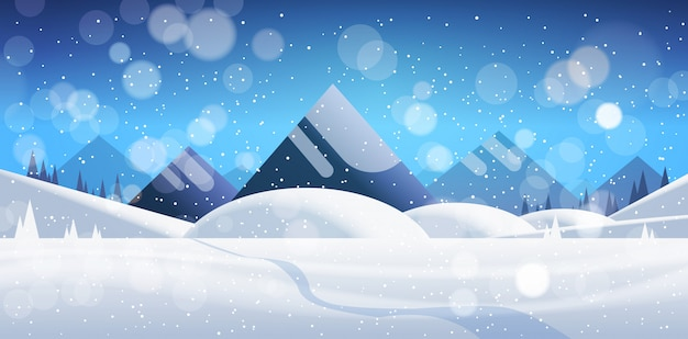冬の山の森の風景の背景松雪木森フラット水平バナー Premiumベクター